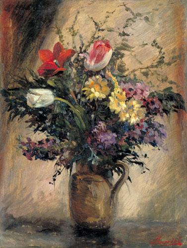 vaso con fiori olio su tela palazzo blu