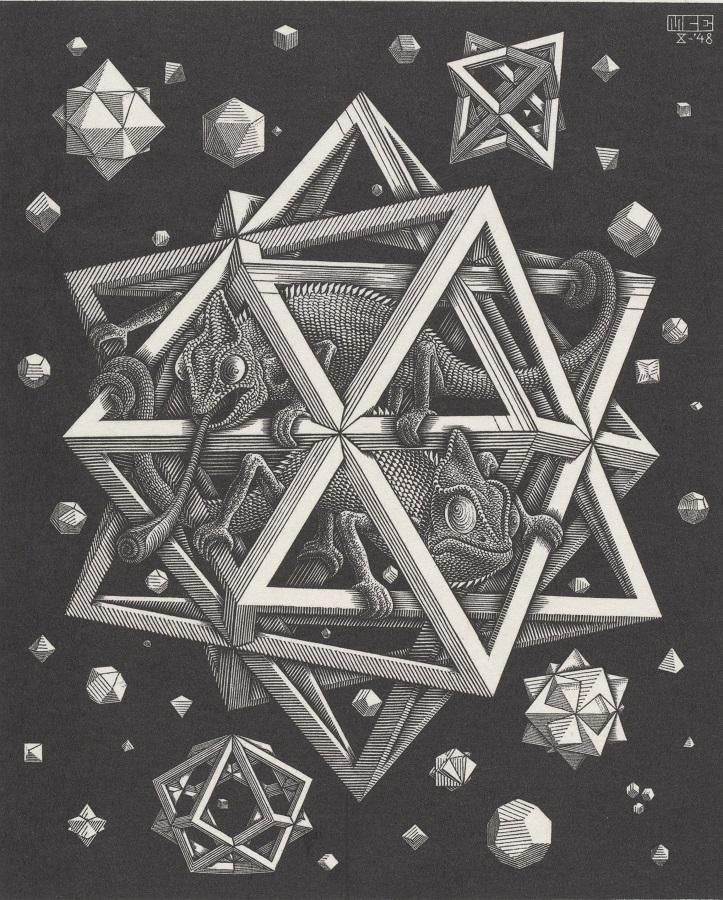M.C. Escher Stelle 1948 Xilografia 32 x 26 cm Collezione Gemeentemuseum Den Haag All M.C. Escher works © the M.C. Escher Company B.V.-Baarn- the Netherlands All rights reserved. www.mcescher.com