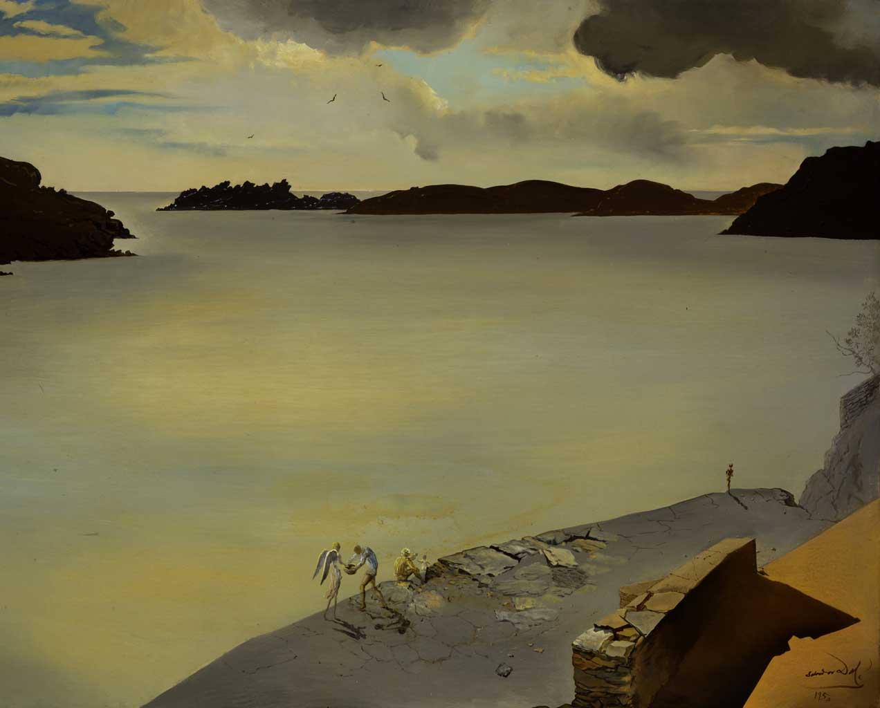 Il Genius loci di Port Lligat e Gala, Paesaggio di Port Lligat, 1950, Olio su tela, 58,5 x 78,5 cm