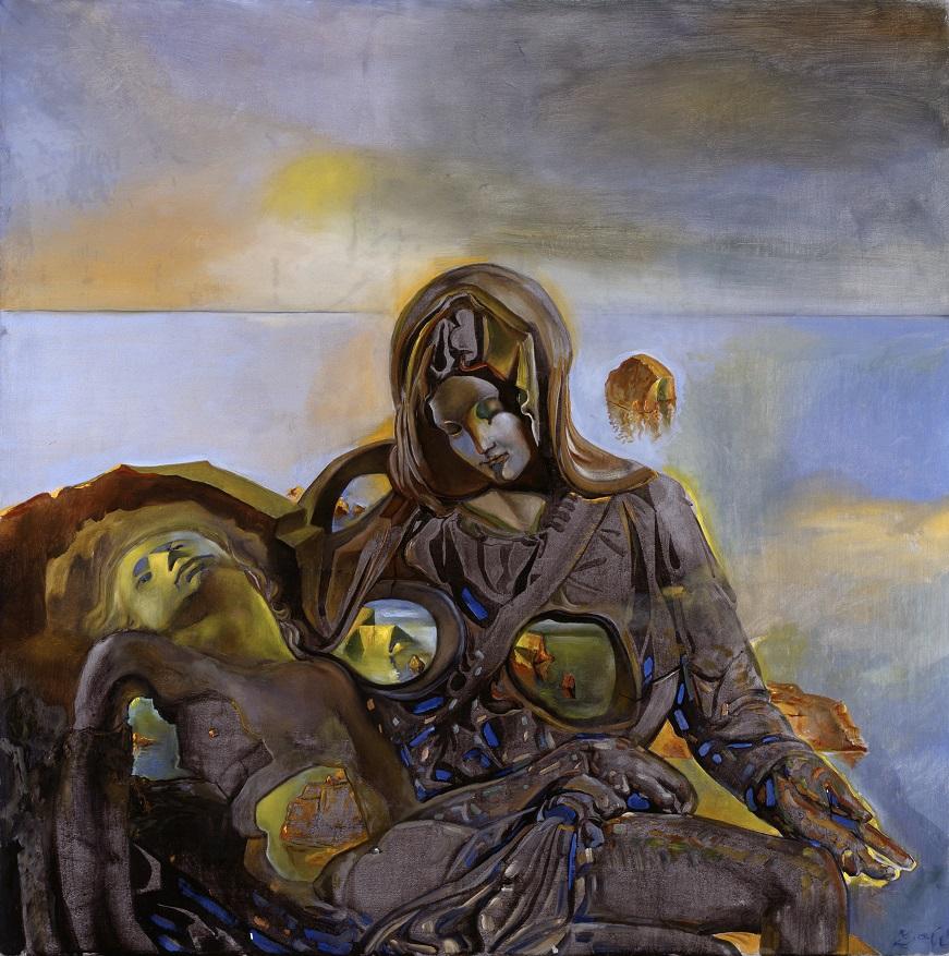 Eco geologica. Dalla Pietà di Michelangelo, 1982, olio su tela, 100 x 100 cm